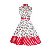 Floral Dress Women 1950s Vintage Sexy Elegant White A Line Sweet Red Fashion Ladies Summer Party Retro Black Polka Dot Dresses