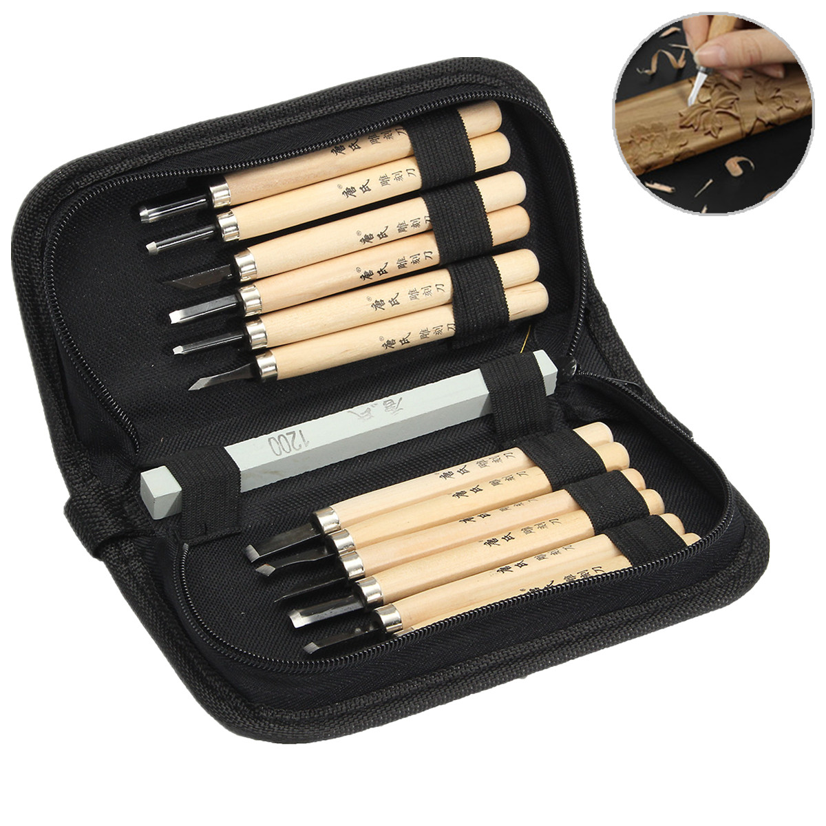 Tools Doersupp 12pcs Universal Professional Wood Carving Chisel Set Including Grindstone Apply For Wax Plaster Clay Similar Materials Hand Tool Sets