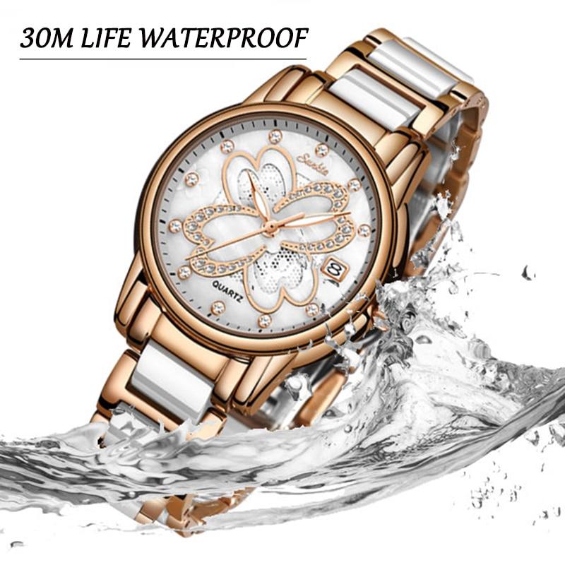 SUNKTA New Watch Women Watches Ladies Creative Women 39 s Ceramic Bracelet Watches Female Clock Relogio Feminino Montre Femme Box in Women 39 s Watches from Watches