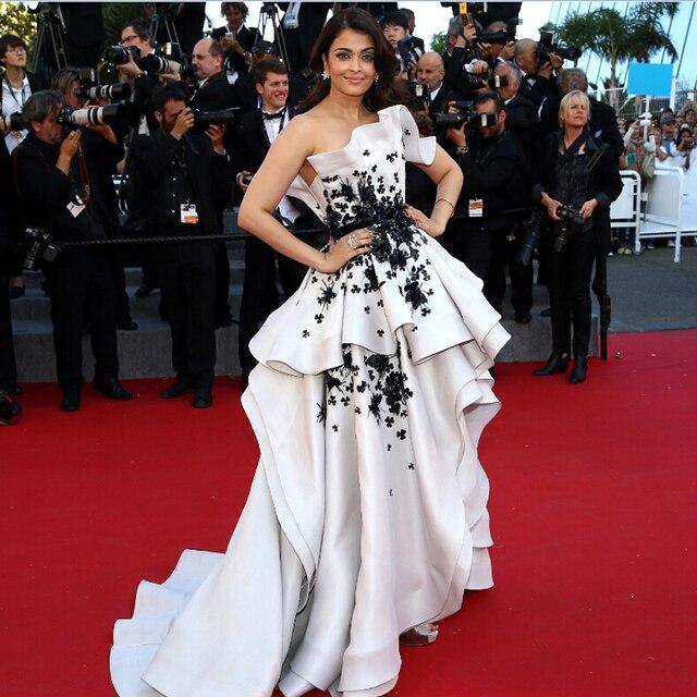 2018 Cannes Film High Low White And Black Fashion Aishwarya Rai