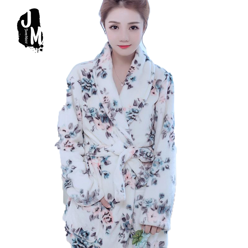 Bath Robe warm floral Robes For Women Dressing Gown Bathrobe Coral Fleece Women Bathrobe Ladies Robes Femme Bain Robe XXL