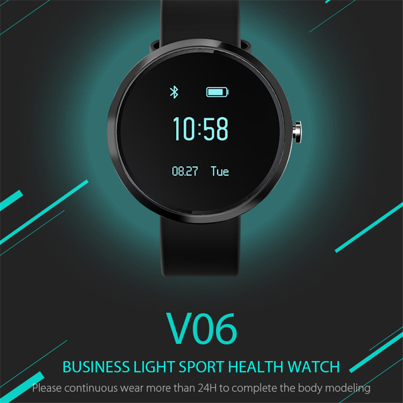 V06 Smart Wristband OLED Blood Pressure Tracker Heart Rate Monitor Alcohol Allergy for Android IOS Smart