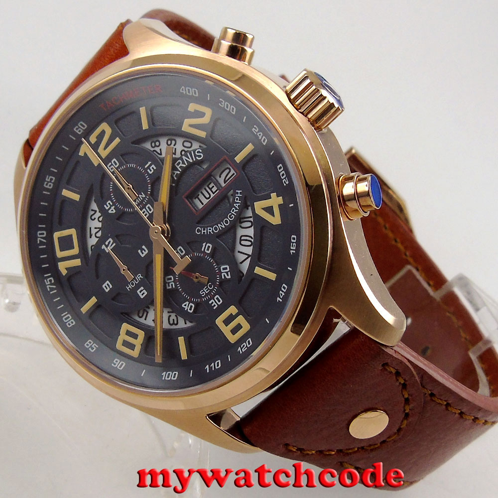 43mm parnis black dial rose golden case date week chronograph quartz mens watch