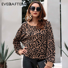 EVERAFTER Vintage Lady Leopard Print Long Sleeve Pullovers Women O-Neck Elegant Loose Sweatshirt 2019 Autumn Winter Female Tops