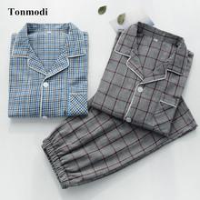 Pajamas For Men Summer Short Sleeved Cotton gauze thin Sleepwear Men Lounge Pajamas Set Plus size