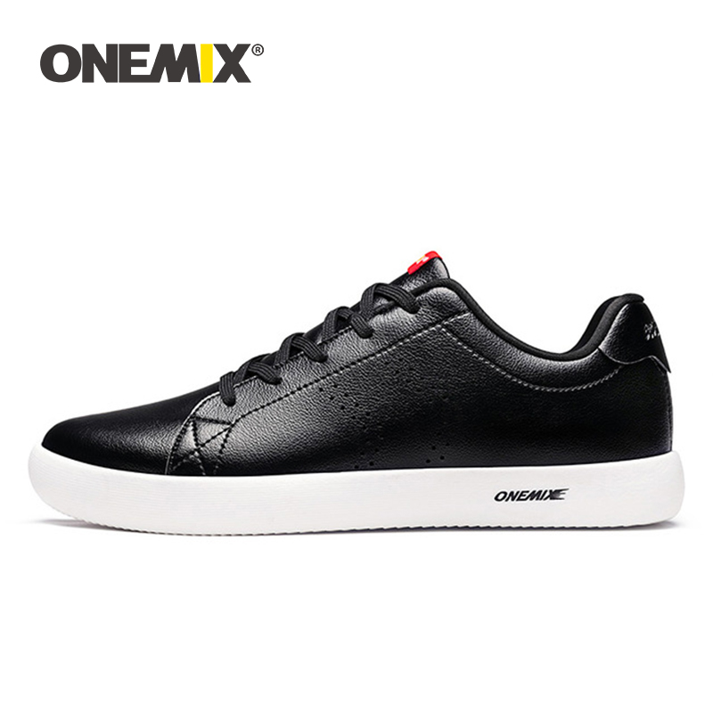ONEMIX New Unisex Casual Flat Shoes Men Sneaker Leather Skateboarding Shoes Lightweight Walking Tenis Masculino Zapatos