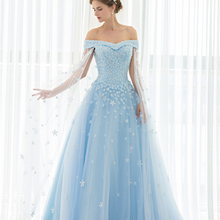 Backlackgirl Blue Off The Shoulder Wedding Dresses
