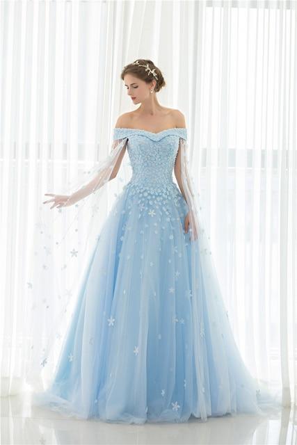Backlackgirl New Arrival Blue Off The Shoulder Hand Made Flowers Princess Wedding  Dresses Marry Dresses Bridal 50e8f78cb0bc