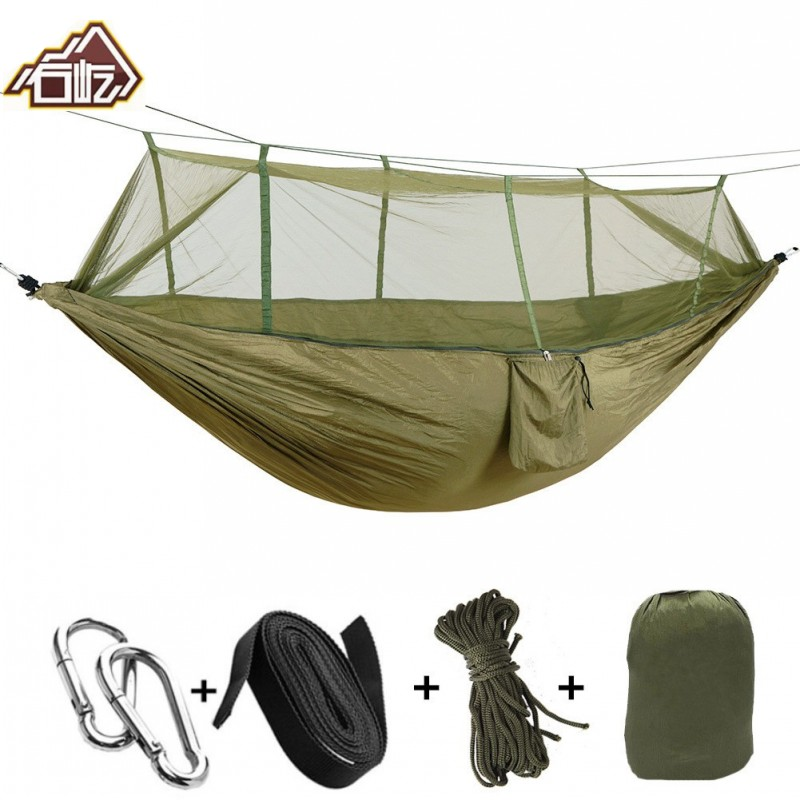 Portable Mosquito Net Parachute Hammock Outdoor Camping Hanging Sleeping Bed Swing Portable Double Chair Double Person Hammocks-in Hammocks from Furniture
