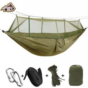 Image 1 - Xách tay Mosquito Net Parachute Võng Cắm Trại Ngoài Trời Treo Ngủ Giường Đu Đu Cầm Tay Đôi Ghế Người Đôi Võng