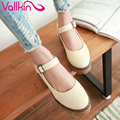 VALLKIN 2017 Women Pumps Sweet Pink Spring Shoes Med Heel Buckle Strap Square Heel Woman Shoes Platorm Wedding Shoes Size 34-43