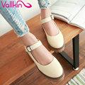 Vallkin 2017 mujeres bombas dulce rosa de primavera zapatos de tacón med hebilla de La Correa Zapatos de Mujer de Tacón Cuadrado Platorm Zapatos de Boda del Tamaño 34-43