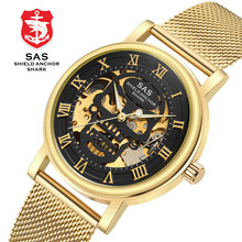 Men's Luxury Gold Wrist Watch Skeleton Mechanical Watch Men Watch Luminous Waterproof Skull Watches Stainless Steel Clock(China)