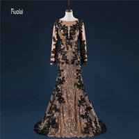 High Quality Long Sleeve Lace Applique Long Zuhair Murad Evening Dresses With Train For Formal Evening