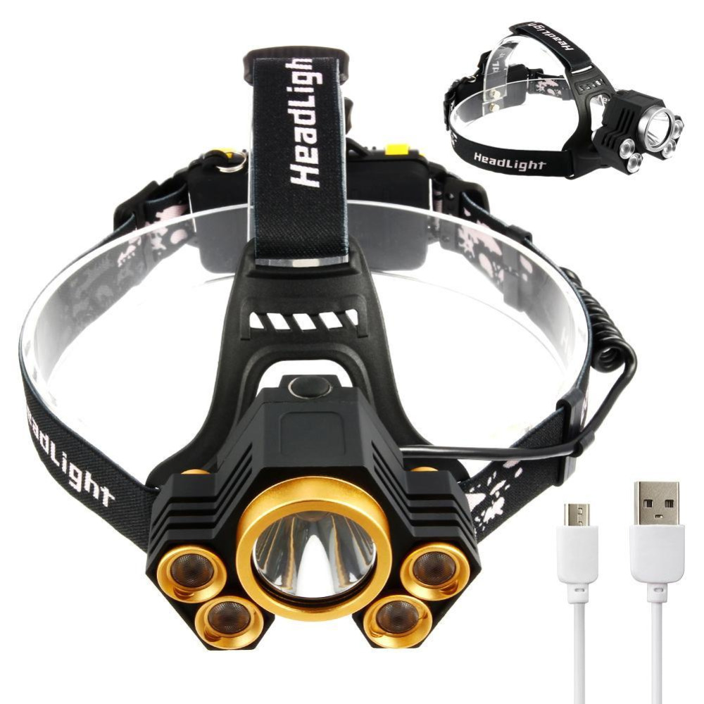 Yunmai T6 15000lm Headlamp 5 Modes Waterproof Zoom Usb Linternas Lampe Torch Running High Power Cycling Gold/silver Spare No Cost At Any Cost