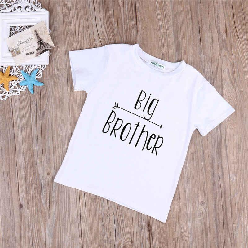 2017 Cotton mùa hè Thư In Ít Anh Lớn Bé Trai ngắn tay áo T-Shirt Em Trai Quần Áo Trẻ Quần Áo Bộ