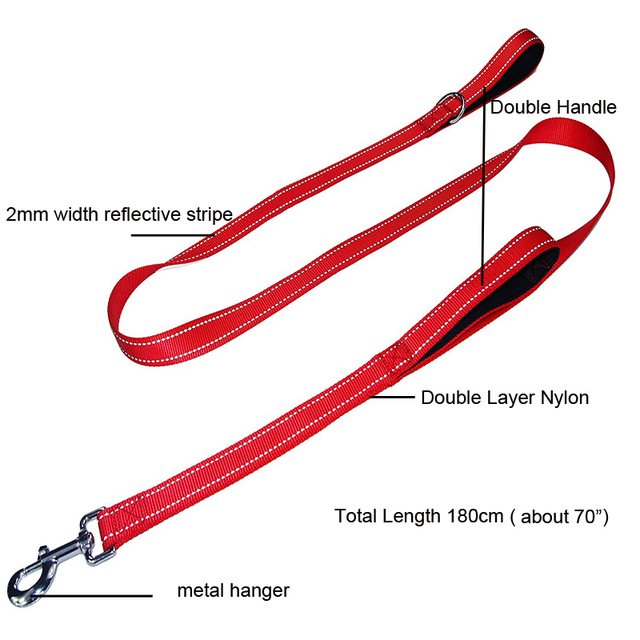 [TAILUP] 70inch Dog Leashes 2 Handles with Soft Thick Padded Big Dog Leash Rope Two Layers Nylon Safety Control For Dog CL145
