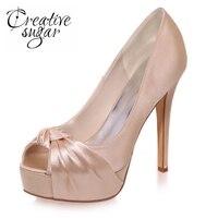 Creativesugar Élégante femme à bout ouvert plate-forme haute talons noeud arc satin robe chaussures partie de bal pompes argent rouge violet champagne