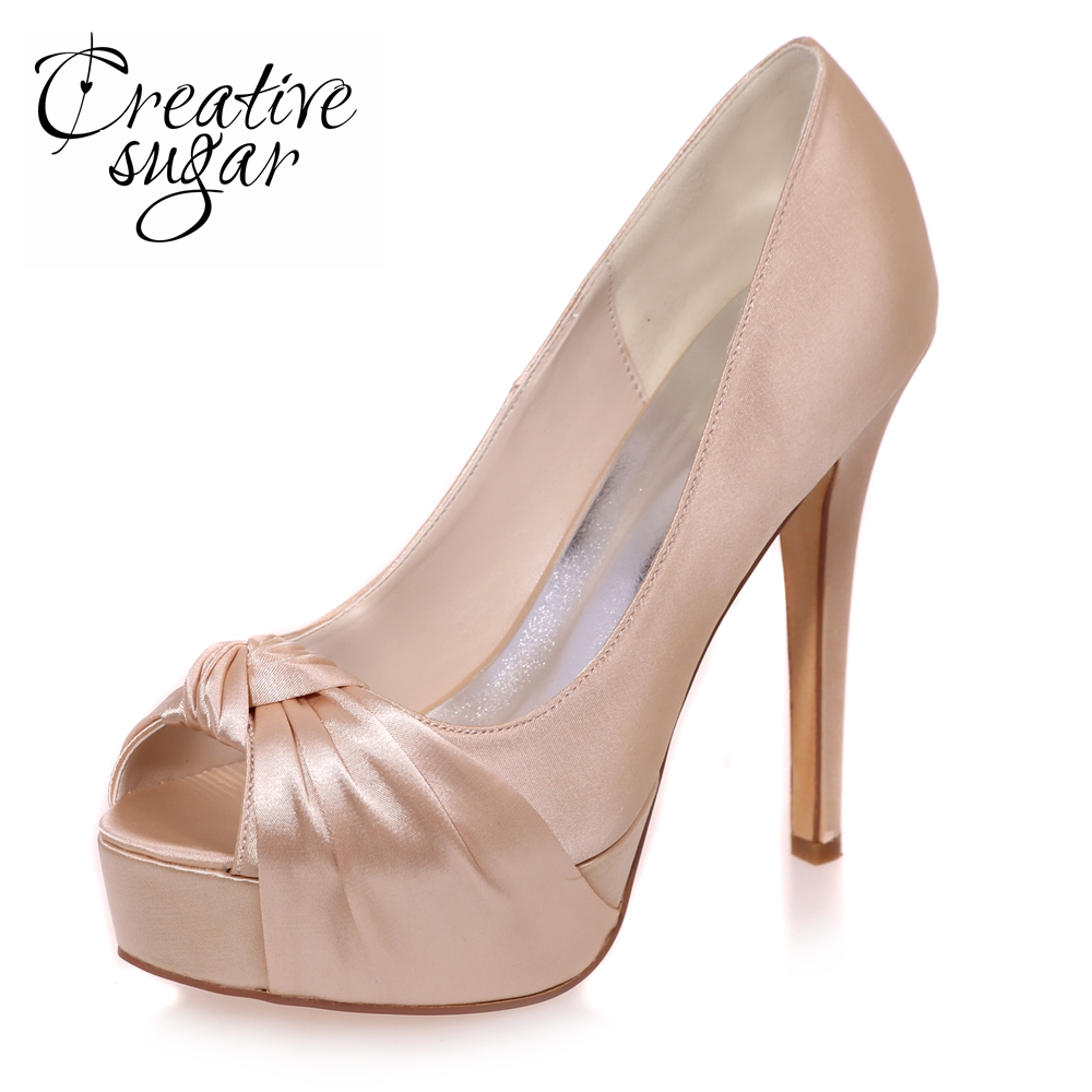 Creativesugar Elegant woman open toe platform high heels knot bow satin dress shoes party prom pumps silver red purple champagne woman shoes summer pumps elegant gray stiletto heels concise ankle buckles design open toe charming female platform party shoes