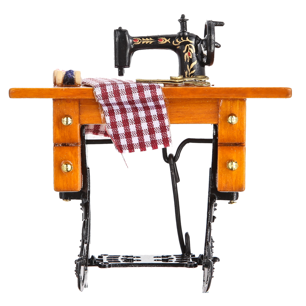 1 12 Pretent Play Dollhouse Sewing Machine Toy With Thread Scissors Material Wood Metal Cloth Pretend