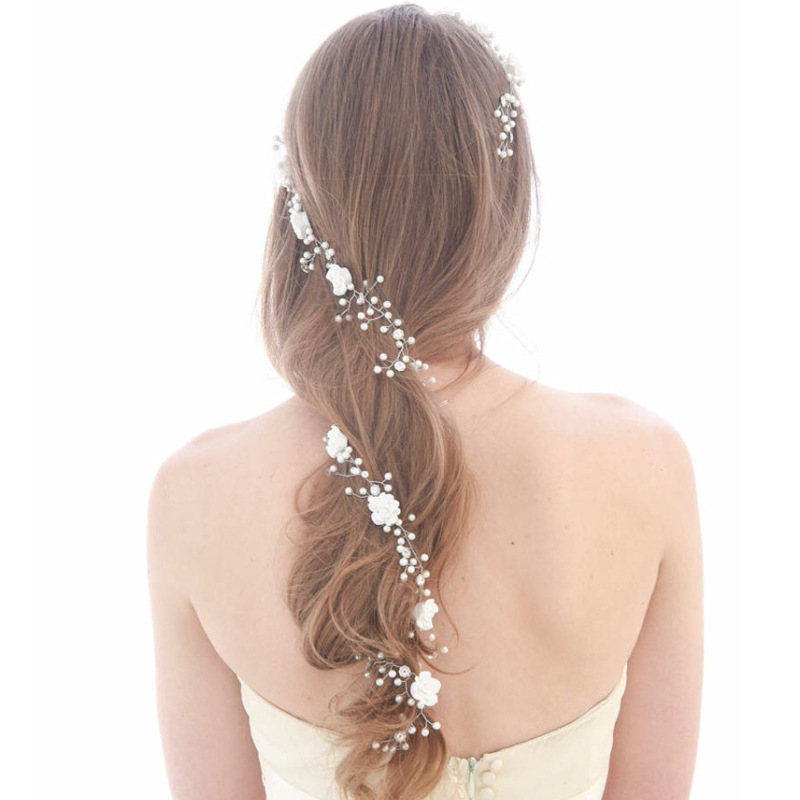 Nupcial perlas falsas pelo vid largo hairpiece Headband Bisutería para pelo boda Accesorios de pelo cx17