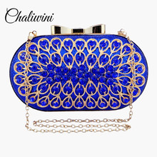 Chaliwini fashion style Peacock flower pattern bag metal sapphire clutch diamond blue evening bags