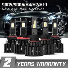 NOVSIGHT H7 светодиодный H4 H11 9006 9005 яркие автомобильные лампы, лампы 100W 20000LM декодер светодиодная фара головного света автомобиля передние фары 6000K 12V 24V