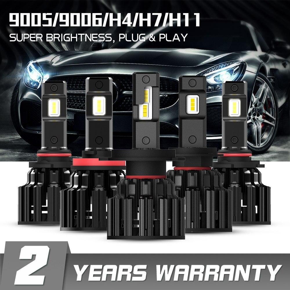 NOVIDADE H7 LED H4 H11 9006 9005 Faróis Do Carro Lâmpadas 100W 20000LM Decodificador Automóvel Luzes LED Farol Dianteiro 6000K 12V 24V