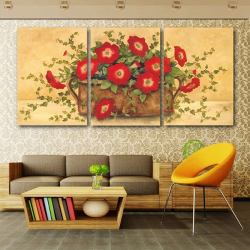 Canvas Wall Art Modular Pictures Home Decor 3 Pieces Red Flowers ...