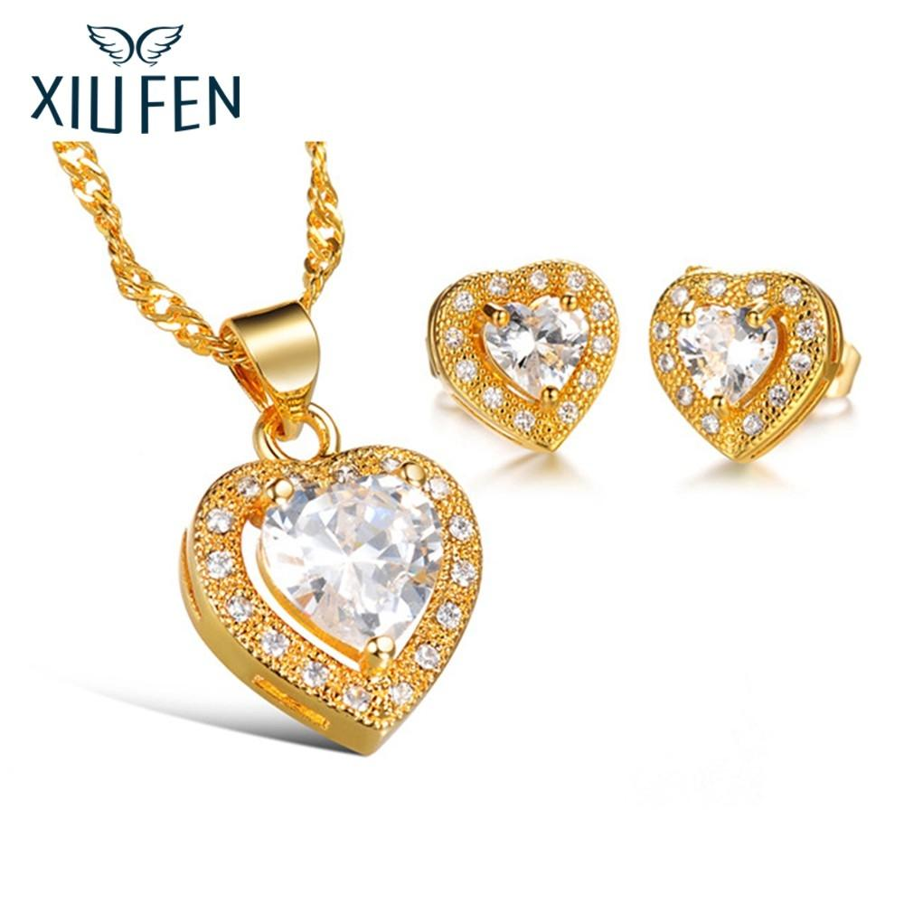 XIUFEN Women Wedding Jewelry Set Fashion Creative Heart Shape Pendant NecklaceEarring Valentine's Day Gift ZK30