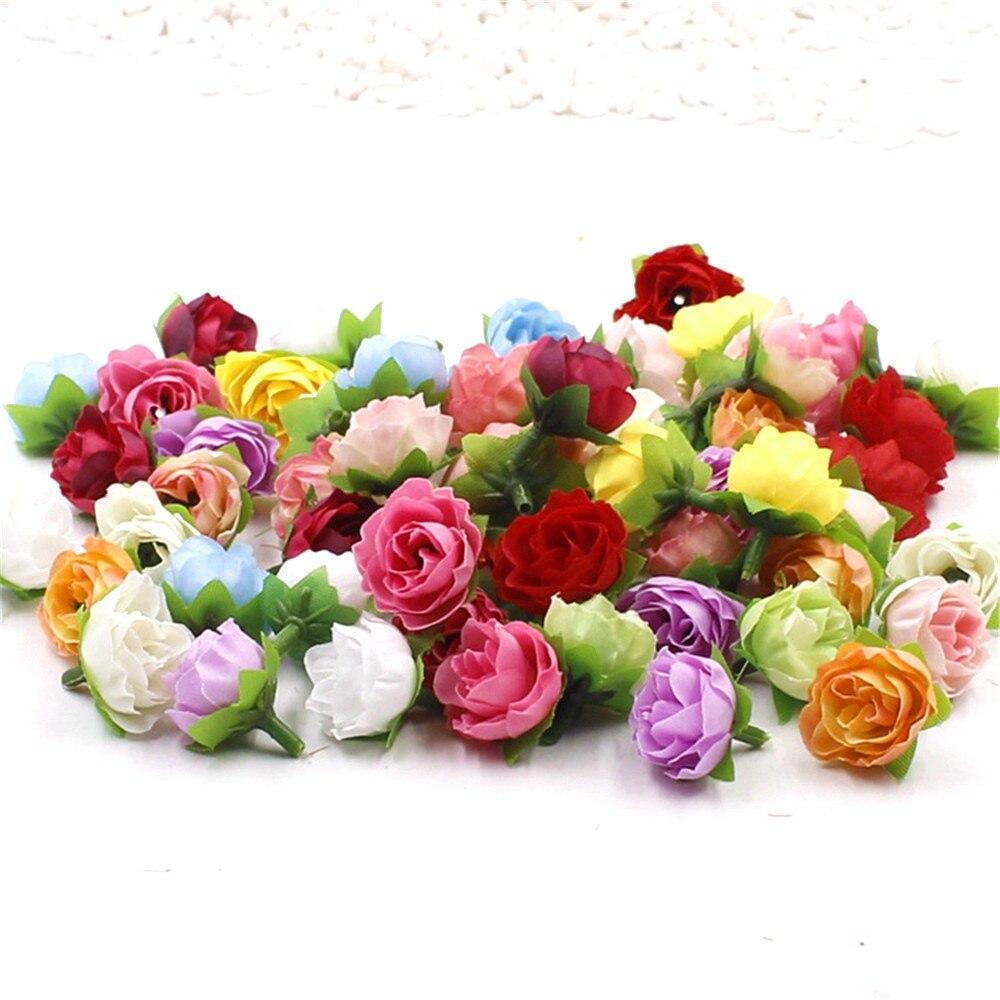 50 unids 2.5 cm flores artificiales de seda de flores pequeñas rosas de té brote