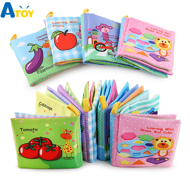 Infant Early Education Cloth Book Toy English Learning Baby Child Kids Palm Fabric Washable Books Food Color Learn Book Toys