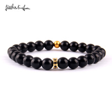 WML 8 styles New Trendy CZ Rims Charm men copper bracelets Black stone beads Bracelets & Bangles for women Jewelry