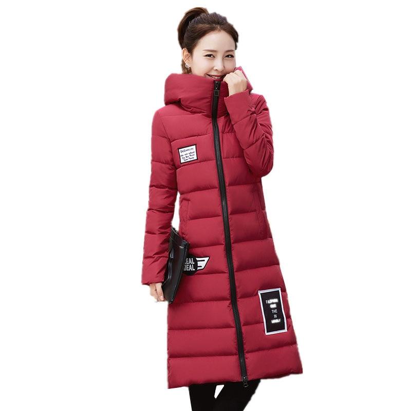 2016 Sonbahar Kış Yeni Kadınlar Kore Moda İnce Rahat Pamuk ceket Artı Boyutu M-4XL Kalınlaşmak Kapşonlu Uzun Aşağı Ceket Kadın C185