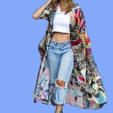 Plus Size Long Bohemian Kimono Cargant Cotton Print Floral Blouse Women 2019 Summer Beach Shirt Top Half Sleeve Boho Clothing ethnic floral print half sleeve short kimono fo women