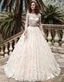 Vestidos de Casamento Mangas Compridas Rendas do vintage 2017 Robe De Mariage vestido de Noiva Plus Size Vestidos de Baile de Conto de fadas Da Princesa Custom Made