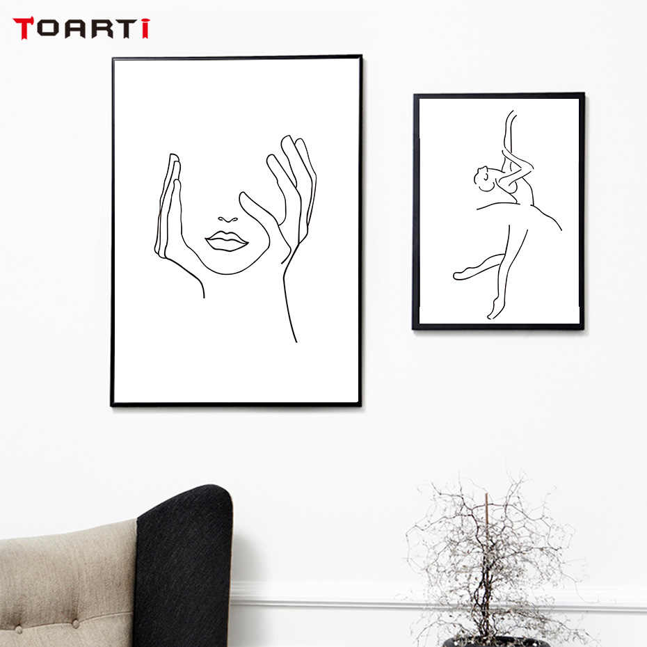 Women Body Line Drawing Abstract Canvas Painting Poster And Prints Modular Wall Picture Home Decor Minimalist Wall Art Murals