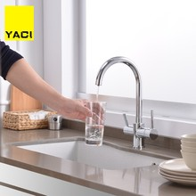 YACI Kitchen Sink Faucet Brass Kitchen Faucet With Water Purification Features C