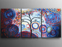 Knife 3 Piece Wall Painting Hand painted Abstract Circle Tree Oil Paintings on Canvas Modern Home Decor Art Color Blue Pictures