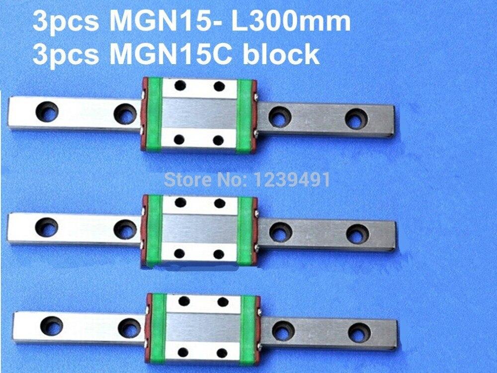 3pcs MGN15 L300mm linear rail + 3pcs MGN15C carriage 3 3 300 30000