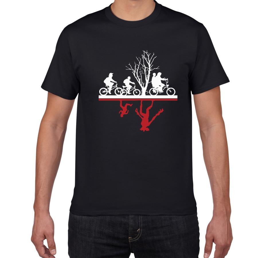 Funny Design Two-worlds Men's T-shirt 100% Cotton Summer Tee Shirt Hip Hop Streetwear Stranger Things T Shirt Men Clothes 2019