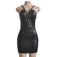 2018 Summer Dress Women Sexy Party Black PU Leather Latex Dresses Zipper Lace-up Hollow out Bodycon Straps Punk Vestidos EY11