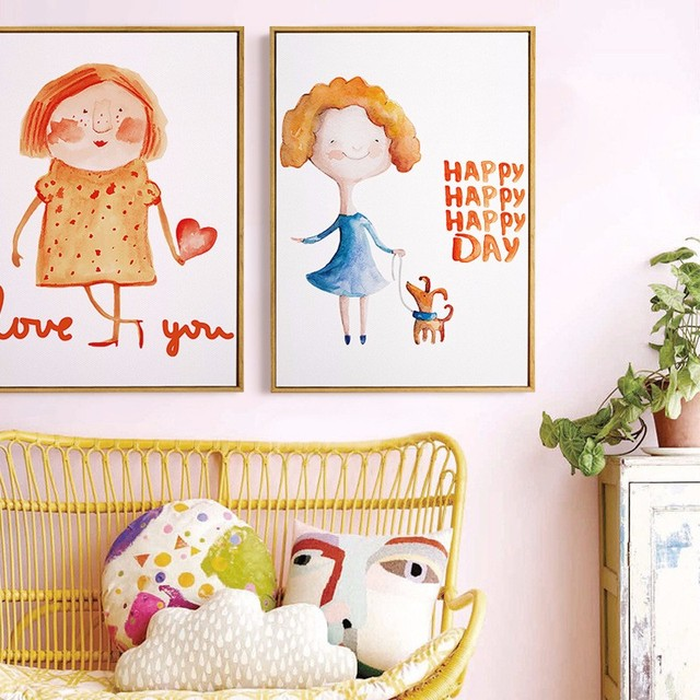 new kawaii cute girl wall art canvas print cartoon watercolor wall painting prints kids room - Prints For Kids