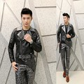 Men's new coat skull patchwork leather jacket Korean Slim nightclub costumes personalized leather punk man hairdresser outerwear