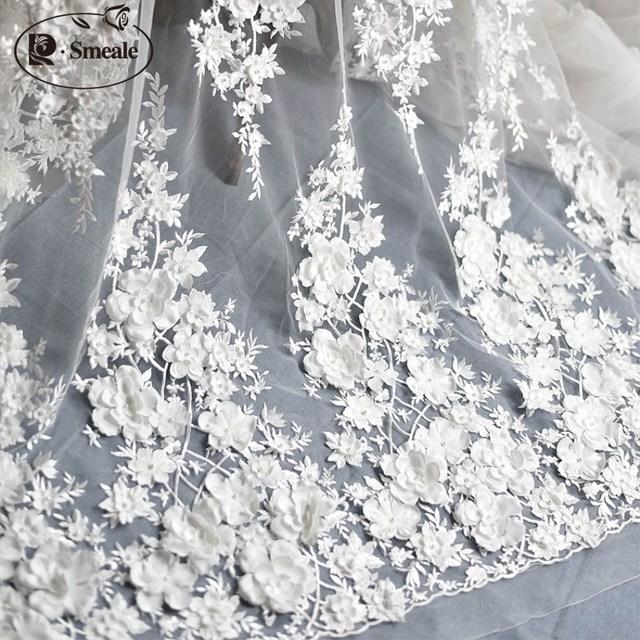 Белая свадьба слоновой кости платье кружевная ткань, 3D шифон цветы ногтей атласная бисера высокого класса европейская кружевная ткань Бесп...