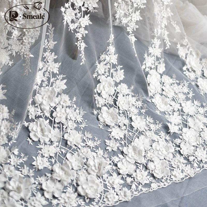 Слоновая кость белое свадебное платье кружевная ткань, 3D шифоновые цветы для ногтей атласная бусина высокого класса европейская кружевная ...