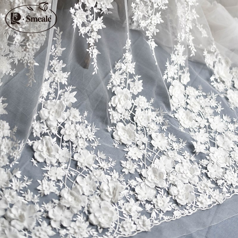 Ivory White Wedding Dress Lace Fabric, 3D Chiffon Flowers Nail satin Bead High End European Lace Fabric Free Shipping RS583Ivory White Wedding Dress Lace Fabric, 3D Chiffon Flowers Nail satin Bead High End European Lace Fabric Free Shipping RS583