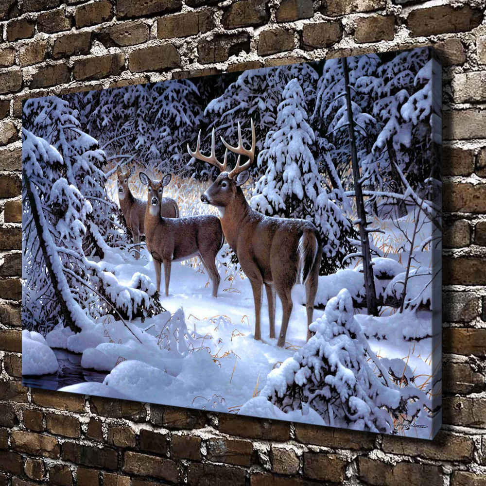 A0388 natural scenery deer forest animals hd canvas print for Deer scenery