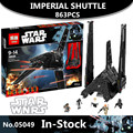 En stock nova 863 unids lepin 05049 serie star el imperial shuttle building blocks juguetes de los ladrillos compatible 75156