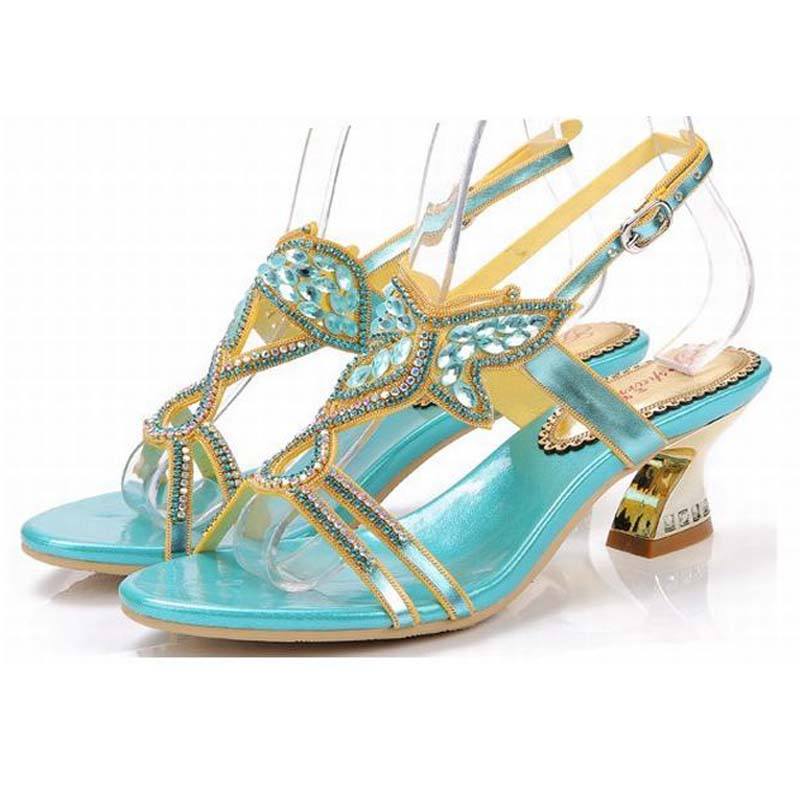 new 2018 Rhinestone Butterfly Sandals Thick Heels Summer Shoes Woman Cut Out High Heel Sexy Women Sandal Sweet Gladiator Sandals 2017 new ankle wrap rhinestone high heel shoes woman abnormal jeweled heels gladiator sandals women pvc padlock sandals shoes